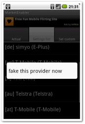長押しすると「fake this provider」というのが出てくるのでそれをタップ