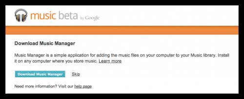 まずはMusic BetaのサイトからMusic Managerをダウンロード